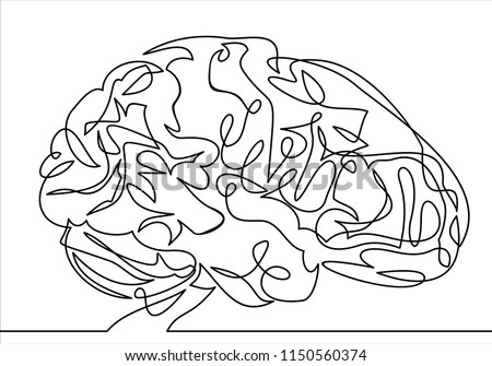 Vector line brain-continuous line drawing