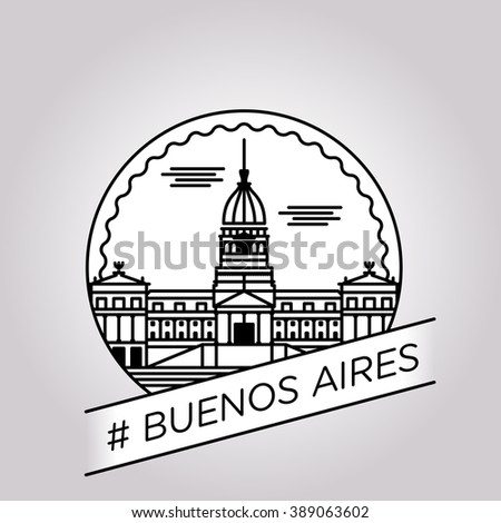 vector line buenos aires badge