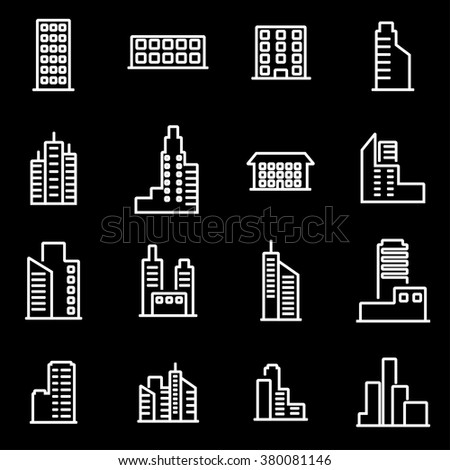 Vector line building icon set.