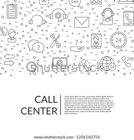 Vector line call support center icons background with place for text illustration