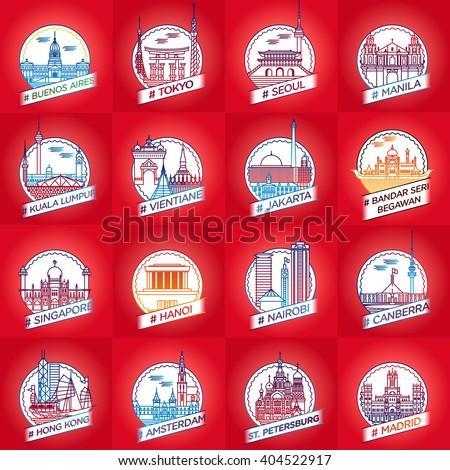 vector line city badge set