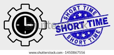Vector line clock setup wheel pictogram and Short Time watermark. Blue round grunge watermark with Short Time message. Black isolated clock setup wheel pictogram in line style.
