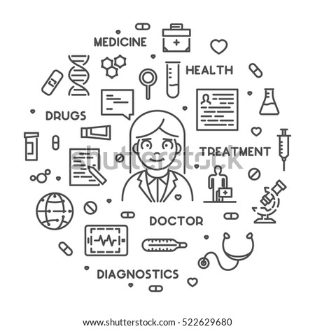 Vector line concept for medicine and doctor. Linear web banner medical care.