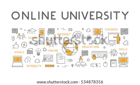 Vector line concept for online university. Linear web banner for online education.