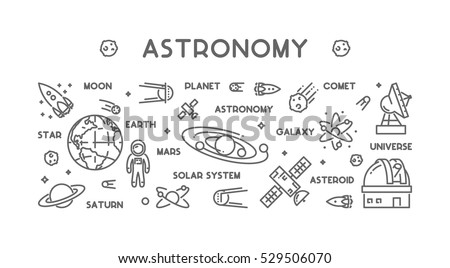 Solar system vector download free vector art stock graphics images vector line design concept for astronomy modern linear horizontal web banner for space outline ccuart Choice Image