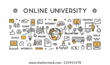 Vector line design concept web banner for online university.