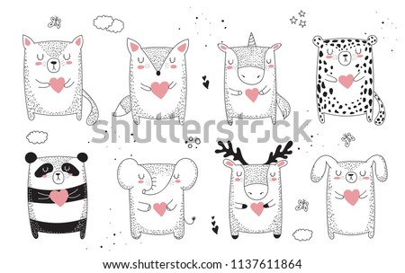Vector line drawing collection of animals. Doodle illustration. Friendship day, Valentine's, anniversary, baby shower, birthday, children's party