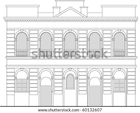 vector  line drawing illustration of a heritage mansion building viewed from front elevation on white background ストックフォト ©
