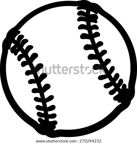 Vector line drawing of a baseball or softball.