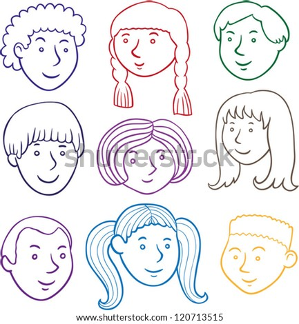 Vector Line Drawing Of Nine Children Faces.5 Boys, 4 Girls ...