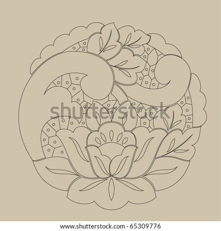 Vector line drawing patterns background .