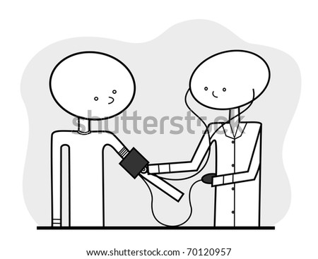 Vector - Line drawn medical illustration, featuring a generic nurse or doctor taking a patient's blood pressure, in a neutral color scheme which can be additionally colored if and as desired.