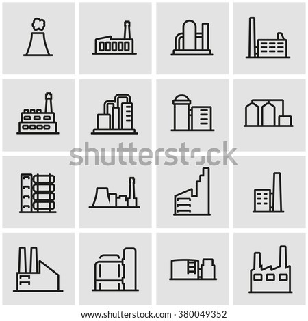Vector line factory icon set.