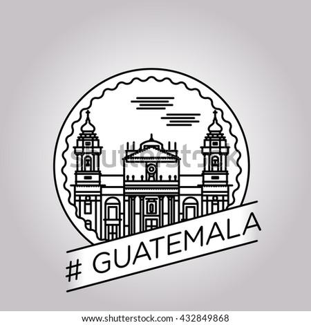 vector line guatemala badge