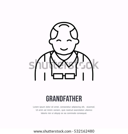 Vector line icon of happy old person. Nursing home sign, linear logo. Outline symbol of grandfather, elderly care. Design element for sites, senior hospital