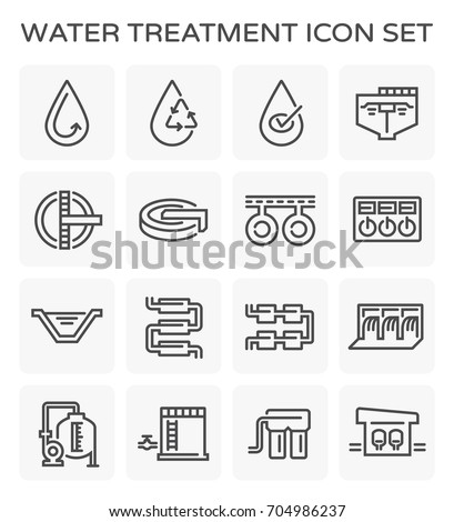 Vector line icon of water treatment plant and water filter.