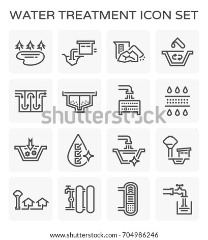 Vector line icon of water treatment system and water filter.