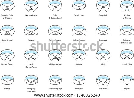 Vector line icon set of men's shirt collar styles, editable strokes. Illustration for style guide of formal male dress code for menswear store. Different collar models: tuxedo, spread, button down. Сток-фото ©