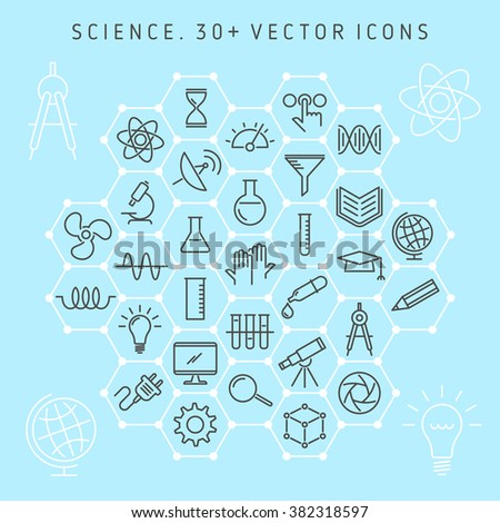 Vector line icon set of science lab and scientific research equipment. Medical laboratory and symbols collection: atom, molecule, microscope, chemical lab, gene, globe, telescope, electronics, etc.