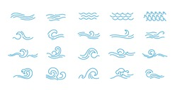 Vector line icon set with simple doodle wave.