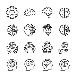 Vector line icons collection of brain. Vector outline pictograms isolated on a white background. Line icons collection for web apps and mobile concept. Premium quality symbols