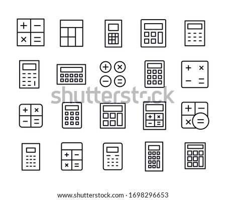Vector line icons collection of calculator. Vector outline pictograms isolated on a white background. Line icons collection for web apps and mobile concept. Premium quality symbols