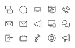Vector line icons collection of media. Vector outline pictograms isolated on a white background. Line icons collection for web apps and mobile concept. Premium quality symbols