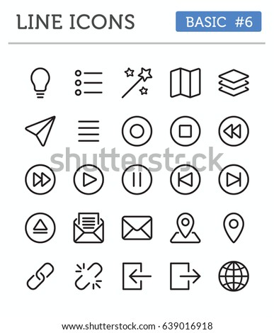 Vector line icons for professional developers - Basic Pack 6