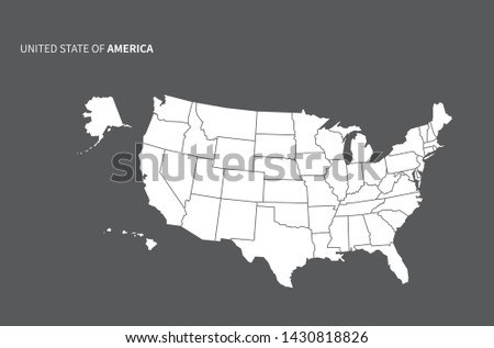 vector line map of america