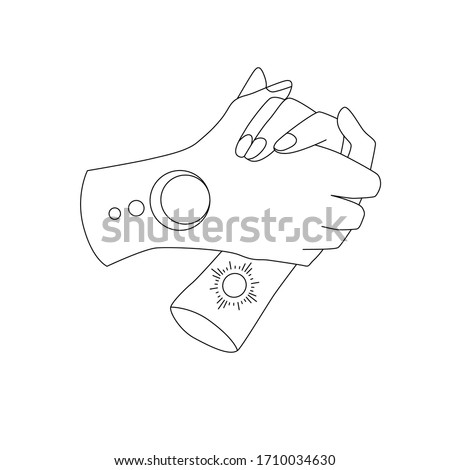 vector line of couple hands