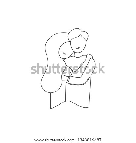 Vector line romantic relationship guy hugging his wife girl experiencing affectionate affection feelings of caring for a romantic relationship.