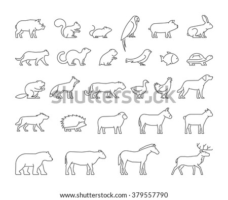 Vector line set of domestic, farm and wild animals. Modern outline icons cat, dog, cow, pig, fox, rabbit, horse, sheep and chicken.