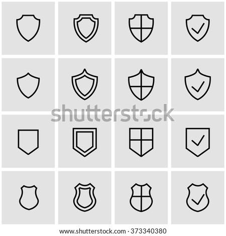 Vector line shield icon set.
