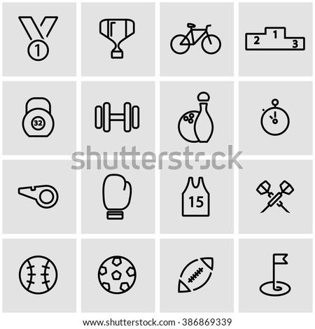 Vector line sport icon set.