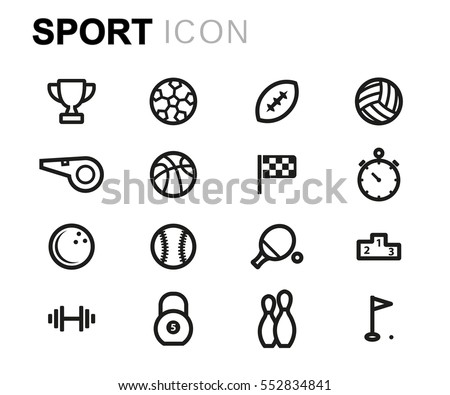Vector line sport icons set
