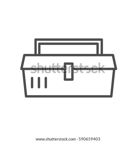 Vector line style icon with tool box. Set of icons isolated on white background