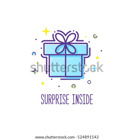 Vector line style logo gift box with a bow. Cute illustration of gift box present, greeting, surprise. Greeting box or wrap gift box.