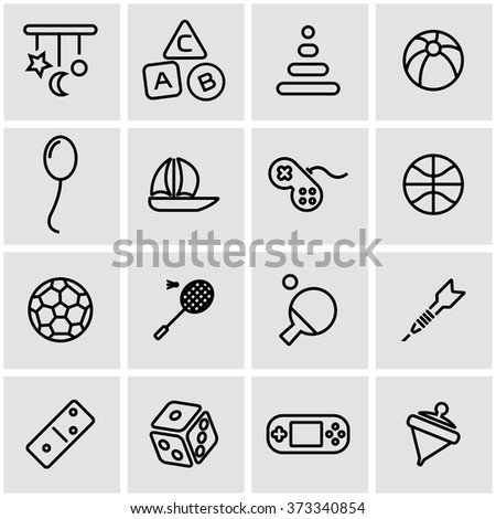 vector line toys icon set