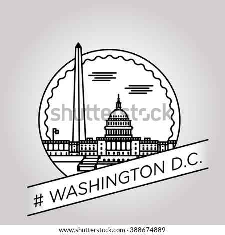 vector line Washington D.C. badge