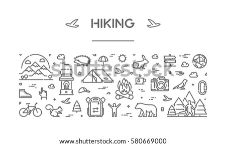 Vector line web banner for hiking. Linear design concept for adventure.