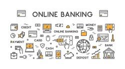 Vector line web concept for online banking. Modern linear banner for internet banking.