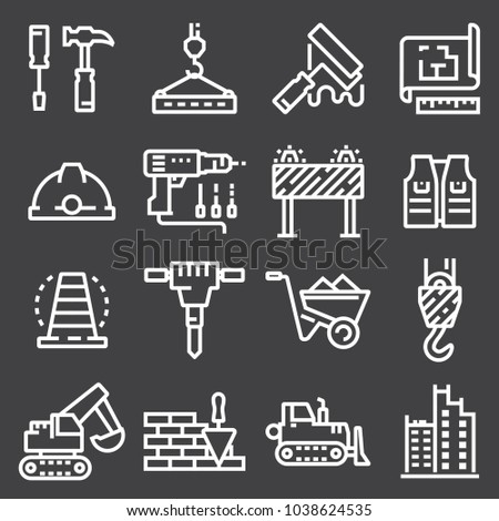 vector line white construction icon set on gray