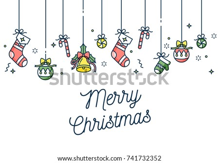 Vector linear design Christmas greetings card on white background. Typography ang icon for Xmas background, banners or posters and other printables. Winter holidays design elements