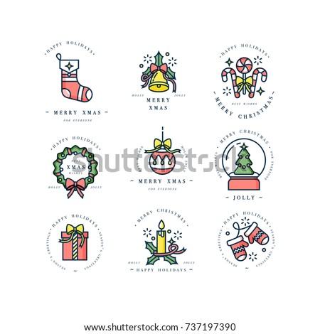 Vector linear design Christmas greetings elements on white background. Typography ang icon for Xmas cards, banners or posters and other printables. Winter holidays design elements
