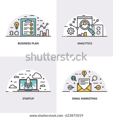 Vector linear design. Concepts and icons for business plan, analytics, start up and email marketing