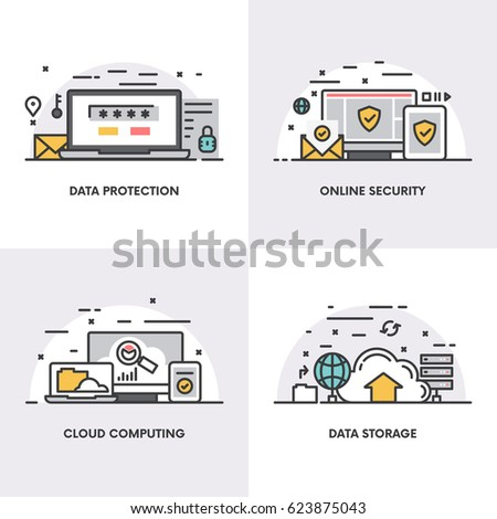Vector linear design. Concepts and icons for data protection, on line security, cloud computing and data storage.