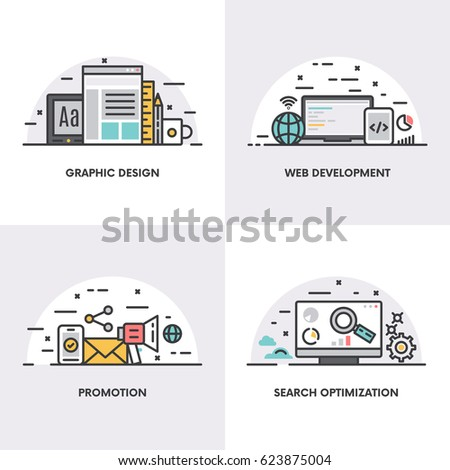 Vector linear design. Concepts and icons for graphic design, web development, promotion and search optimization