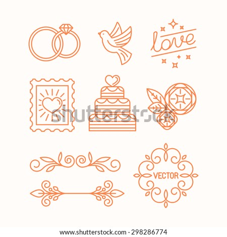 Vector linear design elements, icons and frame for wedding invitations and stationery - decoration set in trendy linear style