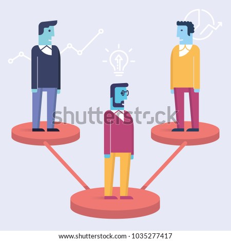 Vector linear flat illustration related to leadership,  business partnership, stakeholders and human resource management. Infographics illustration - part 5