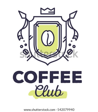 Vector linear green heraldry coat of arms with flags. Vintage royal heraldic shield with crown, coffee bean on white background with title coffee club. Thin line art modern design for logo, web, site